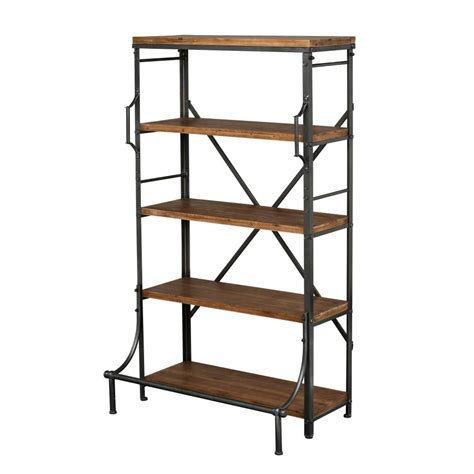 buy industrial warehouse wood and metal bookcase from