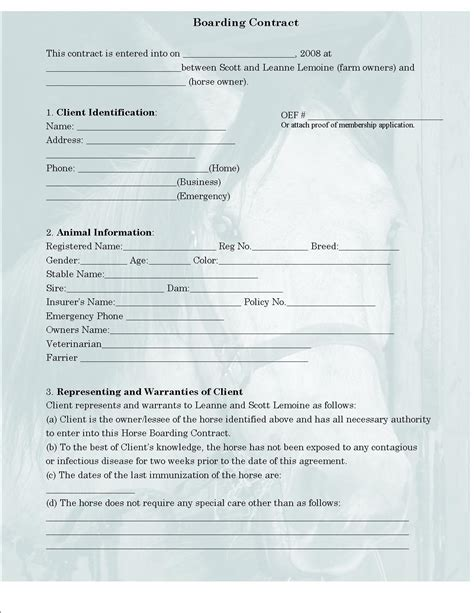 100 horse boarding contract template sponsorship