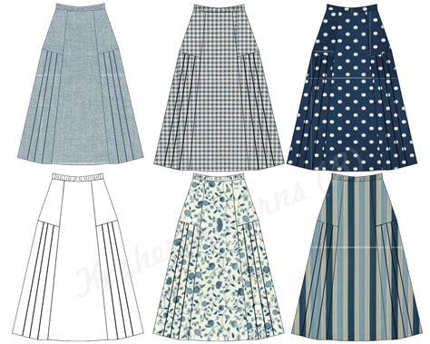 side pleated six panel gathered a line skirt