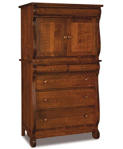 2 piece armoire old classic sleigh chest armoire 2 piece amish direct