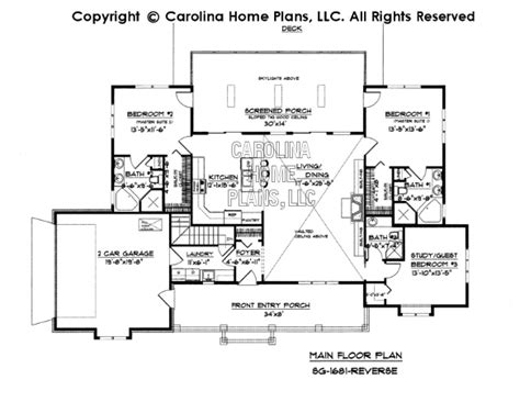 reverse floor plan small country ranch style house plan sg 1681 sq ft