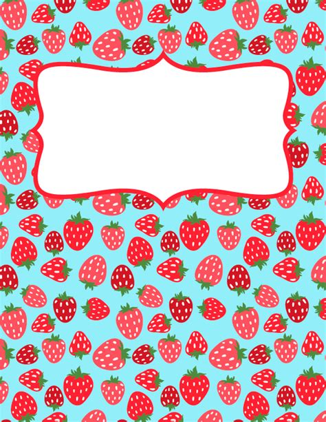 printable binder cover templates free printable strawberry binder cover template download