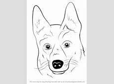 Learn How to Draw German Shepherd Dog Face (Farm Animals ... Easy Dog Face Drawing