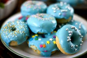 baked donuts with blue glaze icing home maker by choice