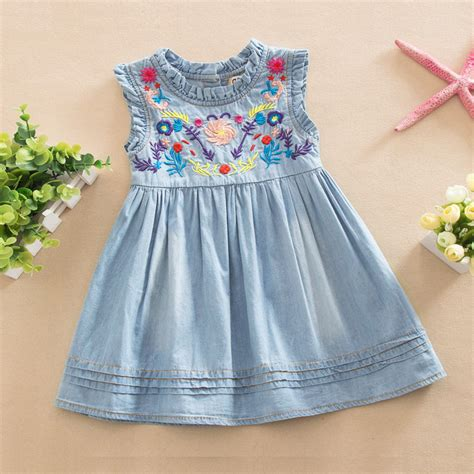 casual comfort clothing brand girls denim dress 2016 princess dress embroidered