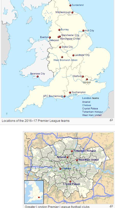 map of premier league teams mapping out all 20 premier league teams prosoccertalk
