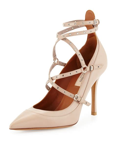 Valentino Studed valentino studded ankle wrap pumps in lyst