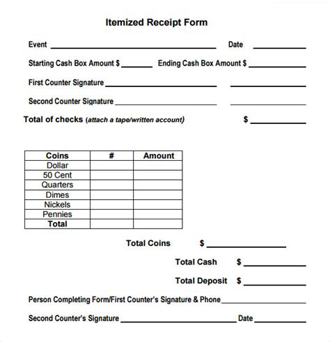 itemized receipt template sle itemized receipt template 9 free