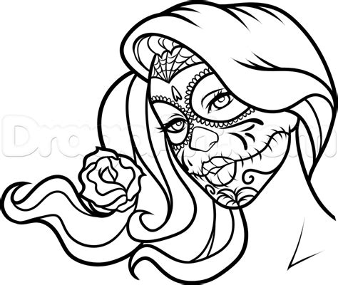 day of the dead face coloring pages how to draw day of the dead face step by step faces people