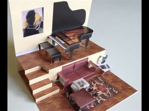 grand piano pop up card free template pop up living room with grand piano