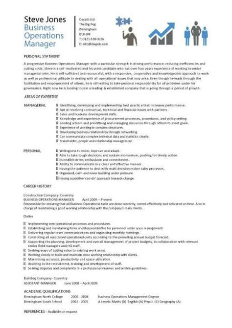 Business Management Resume Template by Business Operations Manager Resume Exles Cv Templates