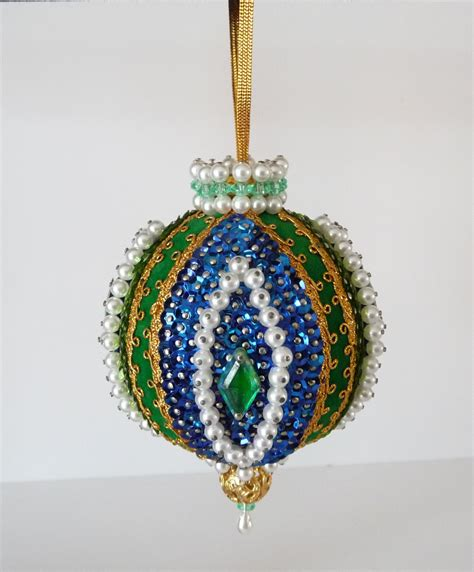 Handmade Beaded Ornaments - vintage handmade beaded ornament blue gold green white