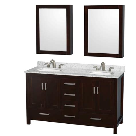 60 inch medicine cabinet wyndham collection sheffield 60 inch w double vanity in