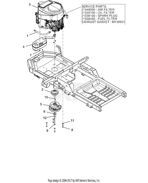 ariens   ikon   ce parts diagram  engine kawasaki frv
