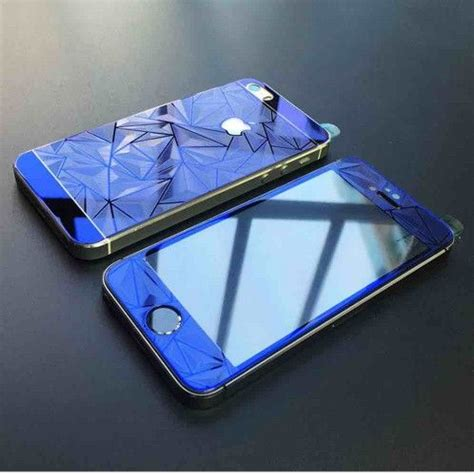 iphone    diamond color mirror tempered glass blue