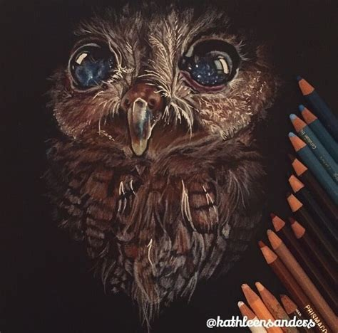 a gorgeous drawing of zeus the blind owl by kathleen
