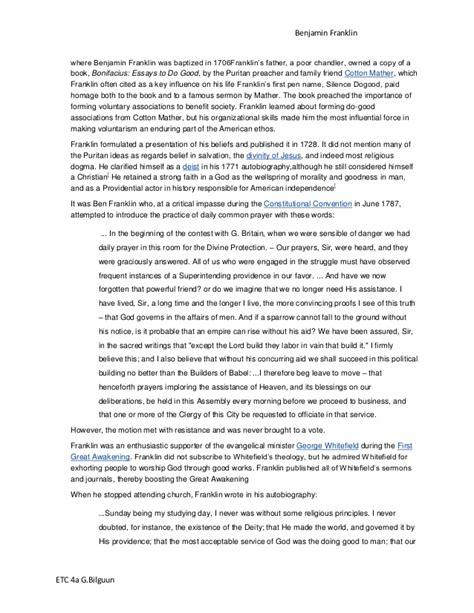 Puritan Religion Essay by Benjamin Franklin