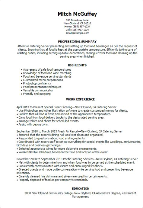 Resume Exles For Servers Professional Catering Server Templates To Showcase Your Talent Myperfectresume