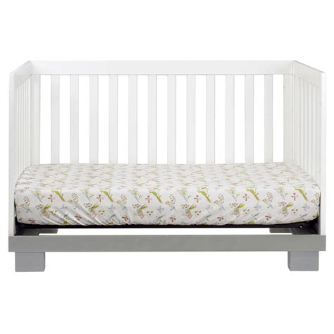 grey and white modo convertible crib by babyletto