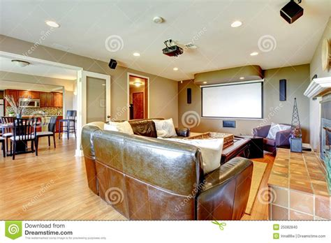 home living room large luxury living room home theater stock photo image