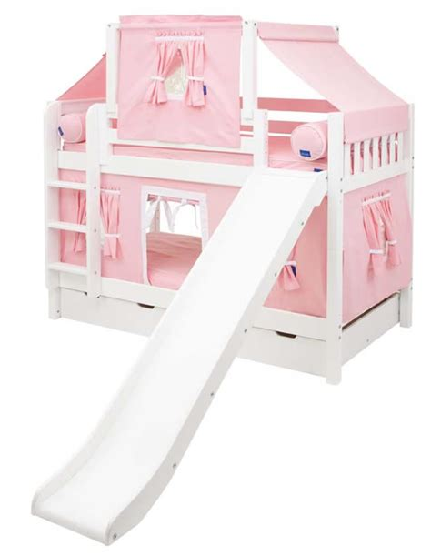 Maxtrix Playhouse Tent Bunk Bed W Slide Pink White On