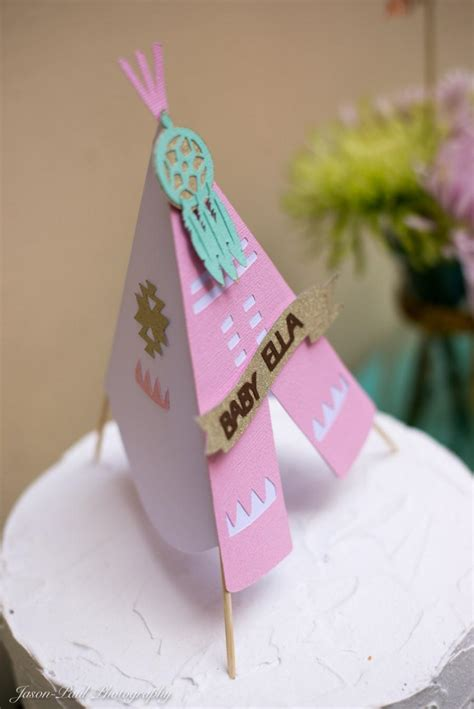 Teepee Cake Topper Pow Wow Party   3D Personalized Name// BOHO Chic Southwestern Baby Shower