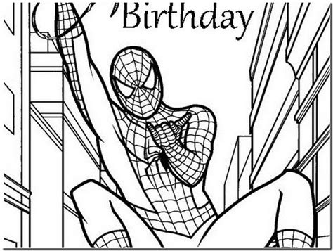 spiderman birthday coloring pages spiderman happy birthday card printable pictures reference