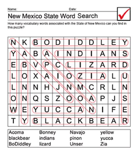 New Mexico Search New Year Word Find Puzzles New Calendar Template Site
