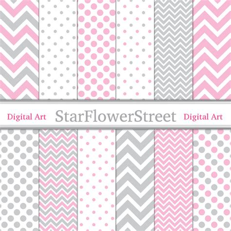 polka dot pattern pink grey pink gray digital paper chevron polka dot girl scrapbook