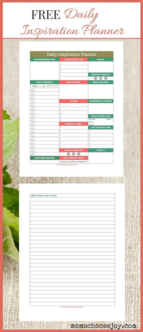free printable planner pages for moms free printable for busy moms daily inspiration planner