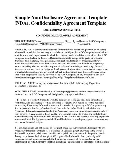 free non disclosure agreement template non disclosure agreement template free sle nda template
