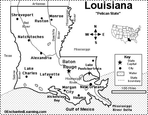 louisiana map capital louisiana map quiz printout enchantedlearning