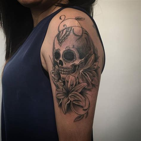 tattoo on my left shoulder grey danger skull and masonic tattoo on shoulder