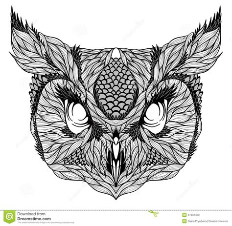 owl head tattoo psychedelic stock vector image 41831420