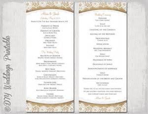 rustic wedding program template burlap amp lace diy