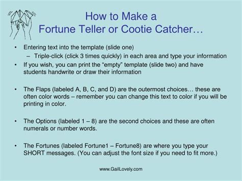 How To Make A Fortune Teller Out Of Paper - ppt cootie catcher or fortune teller to fill in on