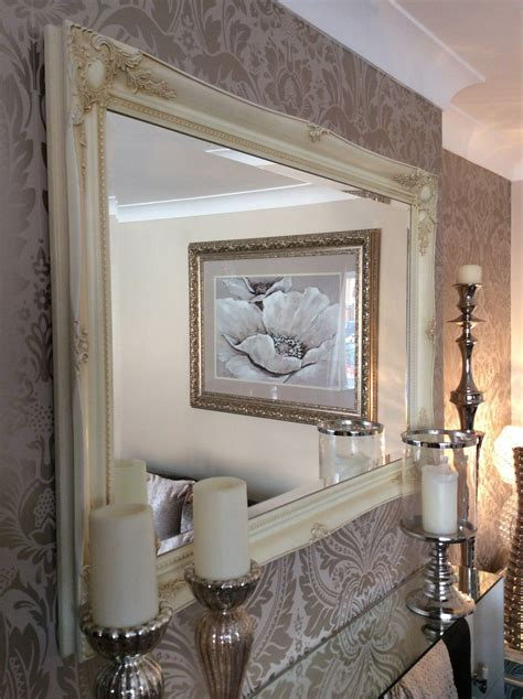 extra large decorative cream shabby chic wall mirror