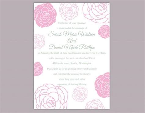 Einladung Hochzeit Rosa by Diy Wedding Invitation Template Editable Word File Instant