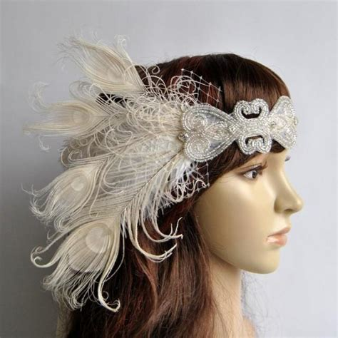 1920 s flapper tutorial diy vintage inspired headband ivory peacock dream the great gatsby headband 1920s
