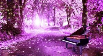 Purple trees and piano purple picture