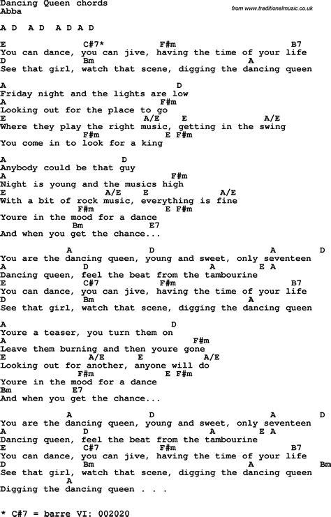 printable lyrics dancing queen abba pin songs queen related website httpwwwqueensongsinfo site