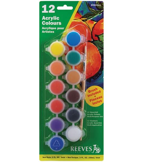 Cat Akrilik 1 Set jual reeves acrylic colours set 12 pots brush reeves