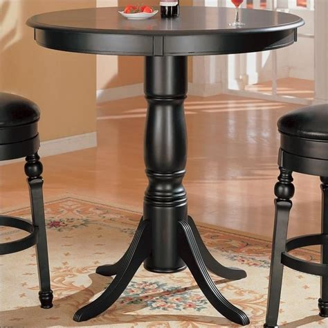 round pub bench coaster lathrop classic round pedestal pub table in black