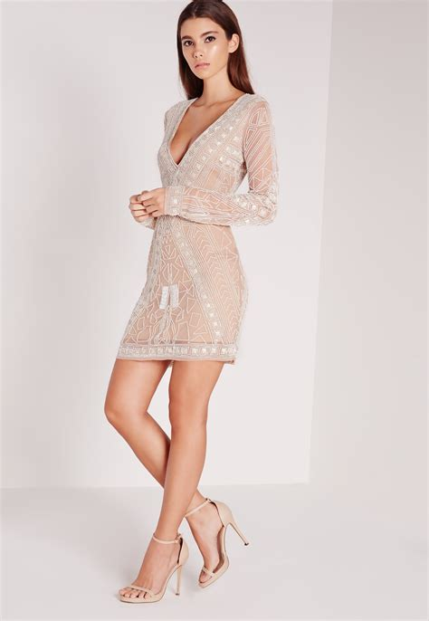 Dress Mini Vb Premium missguided premium embellished plunge mini dress white in