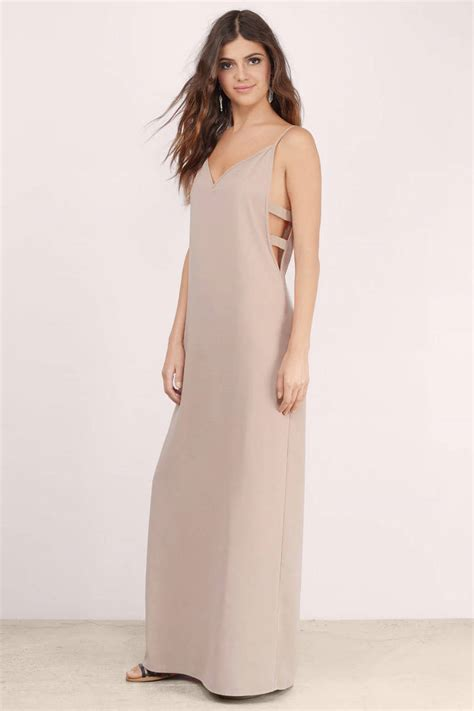 taupe color dress taupe maxi dress taupe dress cut out dress maxi