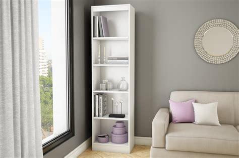 south shore axess  shelf narrow bookcase pure white