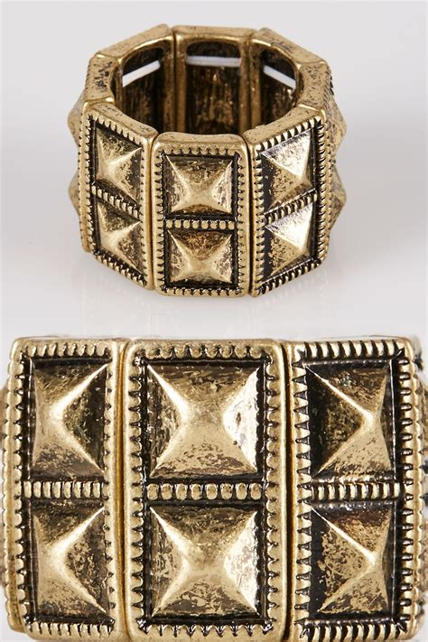 Gold Pyramid Studs gold pyramid stud stretch ring
