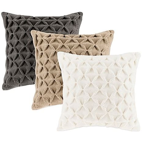 knit throw pillow waffle knit square throw pillow bedbathandbeyond