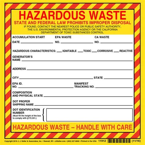 California Hazardous Waste Label Vinyl Continuous Format Free Hazardous Waste Label Template