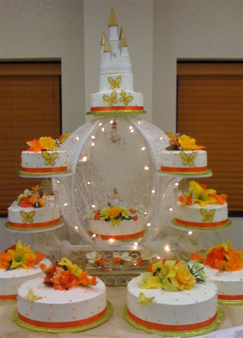 Quinceanera Cakes Gallery by Aprils Cakes Gallery Quinceanera Cake White Orange